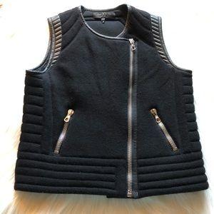 rag & bone black leather wool moto zip vest medium